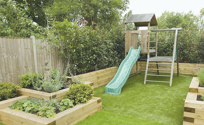 Child friendly garden design structures and garden furniture for Children friendly garden designs